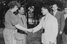 Eleanor Roosevelt hostessing UNESCO visit to Val-Kill in Hyde Park, New York, July 1948