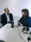 Photo of Subhanu Saxena from the Bill & Melinda Gates Foundation, as he is interviewed by Maureen Metcalf at ILA Brussels