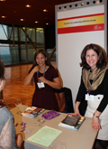 WLAG Leadership Team handing out purple ribbons at ILA's 2015 global conference in Barcelona