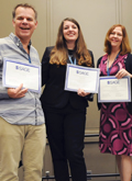 Photo of David Hellstrom, Krista Soria, and Linnette Werner (L-R) at ILA's Leadership Education Luncheon in 2016
