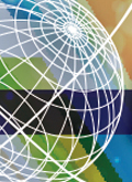 Close-up of Image of New Branding for Leadership Perspectives Webinars - Globe from ILA logo overlaid on colorful background